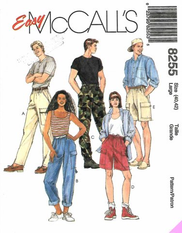 McCall's Sewing Pattern 8255 M8255 Misses Mens Chest 40-42 Easy Pants Shorts Patch Pockets