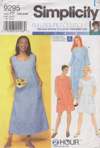 Simplicity Sewing Pattern 9295 Womens Plus Sizes 18W-24W 2 Hour Shift A-Line Dress
