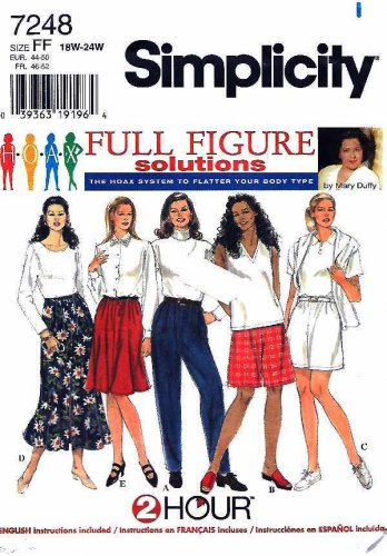 Simplicity Sewing Pattern 7248 Womens Plus Sizes 18W-24W 2 Hour Skirt Pants Shorts