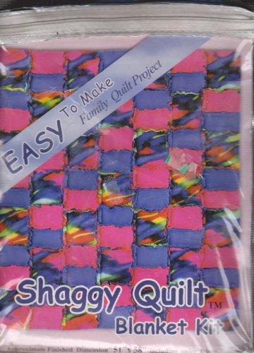 Easy Shaggy Quilt Blanket Kit 51 x 58 Precut Fleece Fabric + 2 New Spools Thread