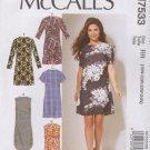 McCall's Sewing Pattern 7533 M7533 Womens Plus Sizes 18W-24W Straight Dresses Sleeve Hem Options
