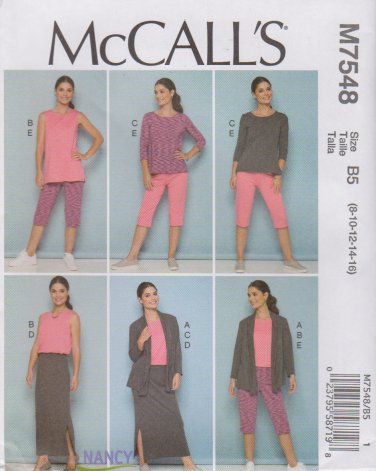 McCall's Sewing Pattern 7548 M7548 Misses Sizes 8-16 Knit Wardrobe Jacket Tops Skirt Pants