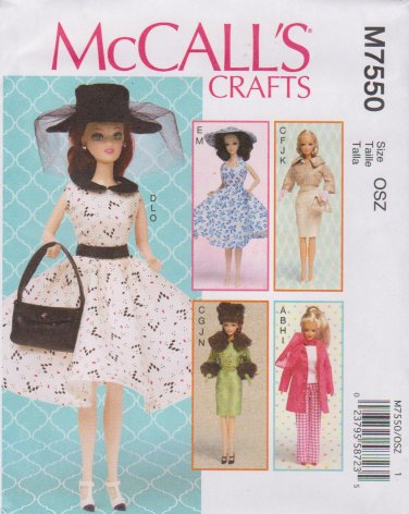 McCall's Sewing Pattern 7550 M7550 11.5 Inch Fashion Doll like Barbie Clothes Acccessories