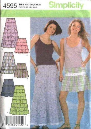 Simplicity Sewing Pattern 4595 Size 12-20 Tiered Yoke Skirts Length Options