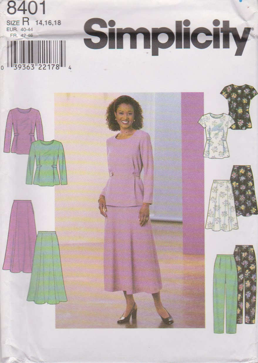 Simplicity Sewing Pattern 8401 Misses Size 14-16-18 Pullover Top Flared Skirt Long Pants