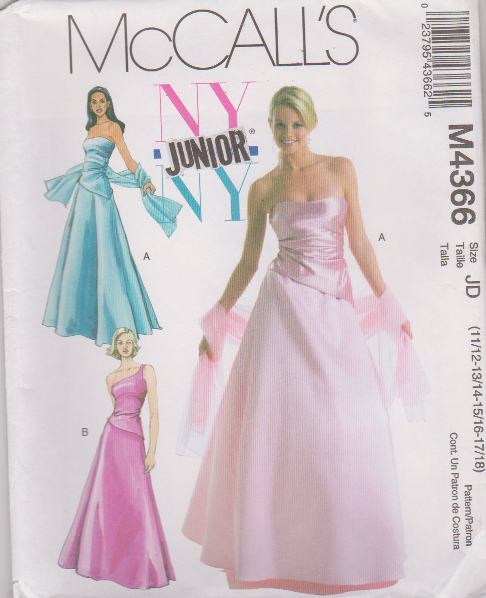 McCall's Sewing Pattern 4366 Junior Size 11/12-17/18 NYNY Formal Prom Gown 2-Piece Dress Top Skirt