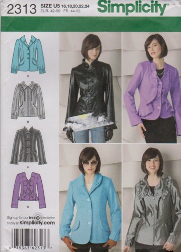 Simplicity Sewing Pattern 2313 Misses Size 16-24 Button Zipper Front Long Sleeve Jackets Embellished