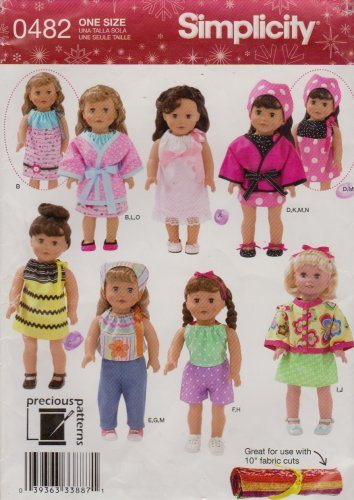 """Simplicity Sewing Pattern 0482 2302 18"""" Doll Clothes Dress Top Shorts Pants Jacket Robe Scarf Shoes"""