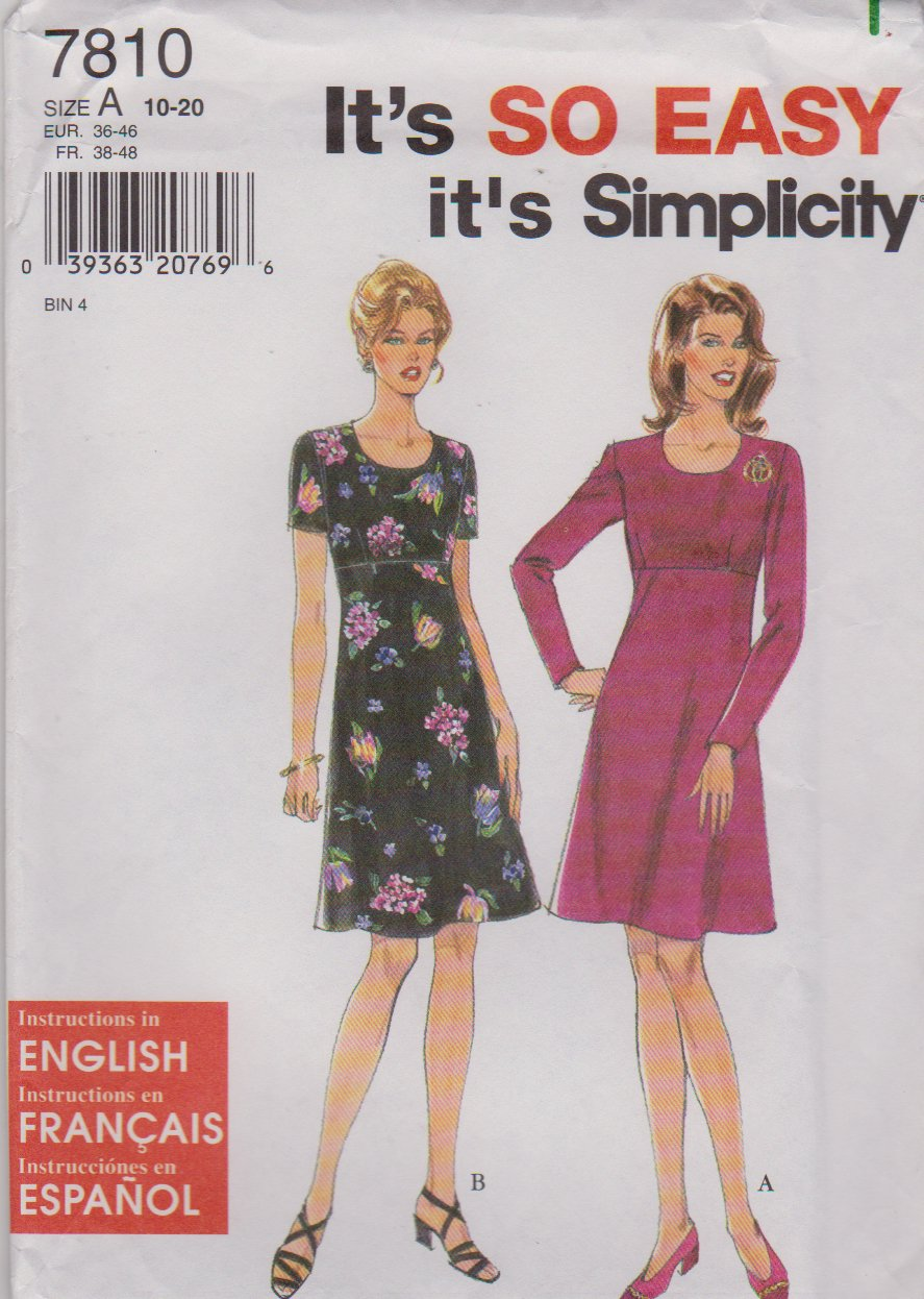 Simplicity Sewing Pattern 7810 Misses Size 10-20 Easy Raised Empire Waist Dress Sleeve Options