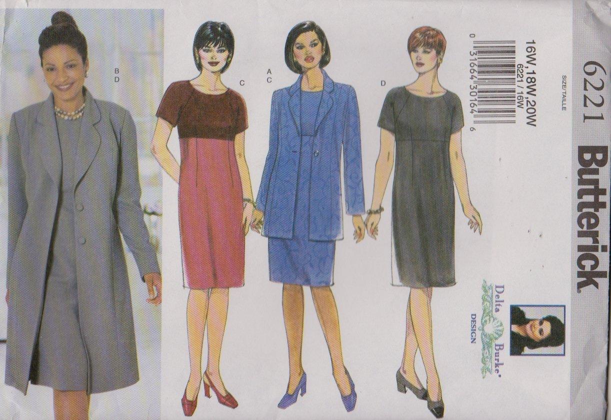 Butterick Sewing Patterns 6221 B6221 Womens Plus Size 16W-20W Raised Waist Dress Jacket Duster