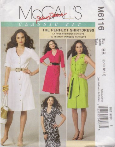 McCall's Sewing Pattern 6116 M6116 Misses Size 8-14 Classic Shirtdress Front Button Collar Options