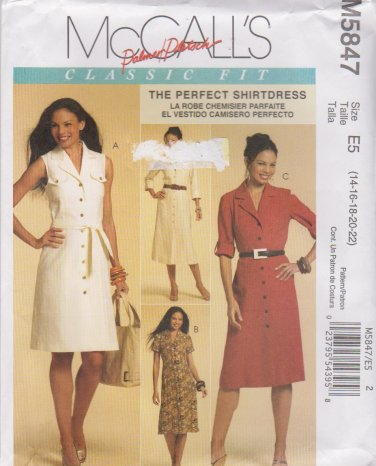 McCall's Sewing Pattern 5847 M5847 Misses Size 14-22 Palmer/Pletsch Classic Shirtdress