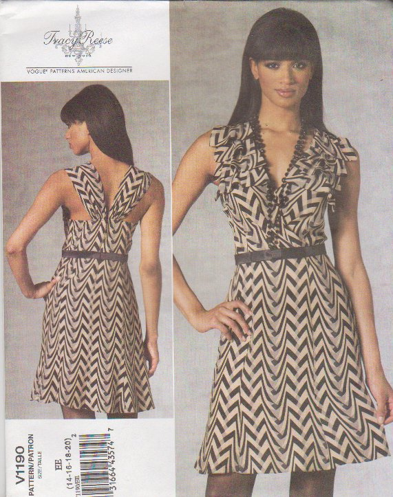 Vogue Sewing Pattern 1190 V1190 Misses Size 14-20 Tracy Reese Easy Close-Fitting A-Line Dress