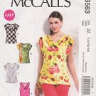 McCalls Sewing Pattern 6563 M6563 Misses Size 16-26 Easy Pullover Cowl Neck Cap Sleeve Top