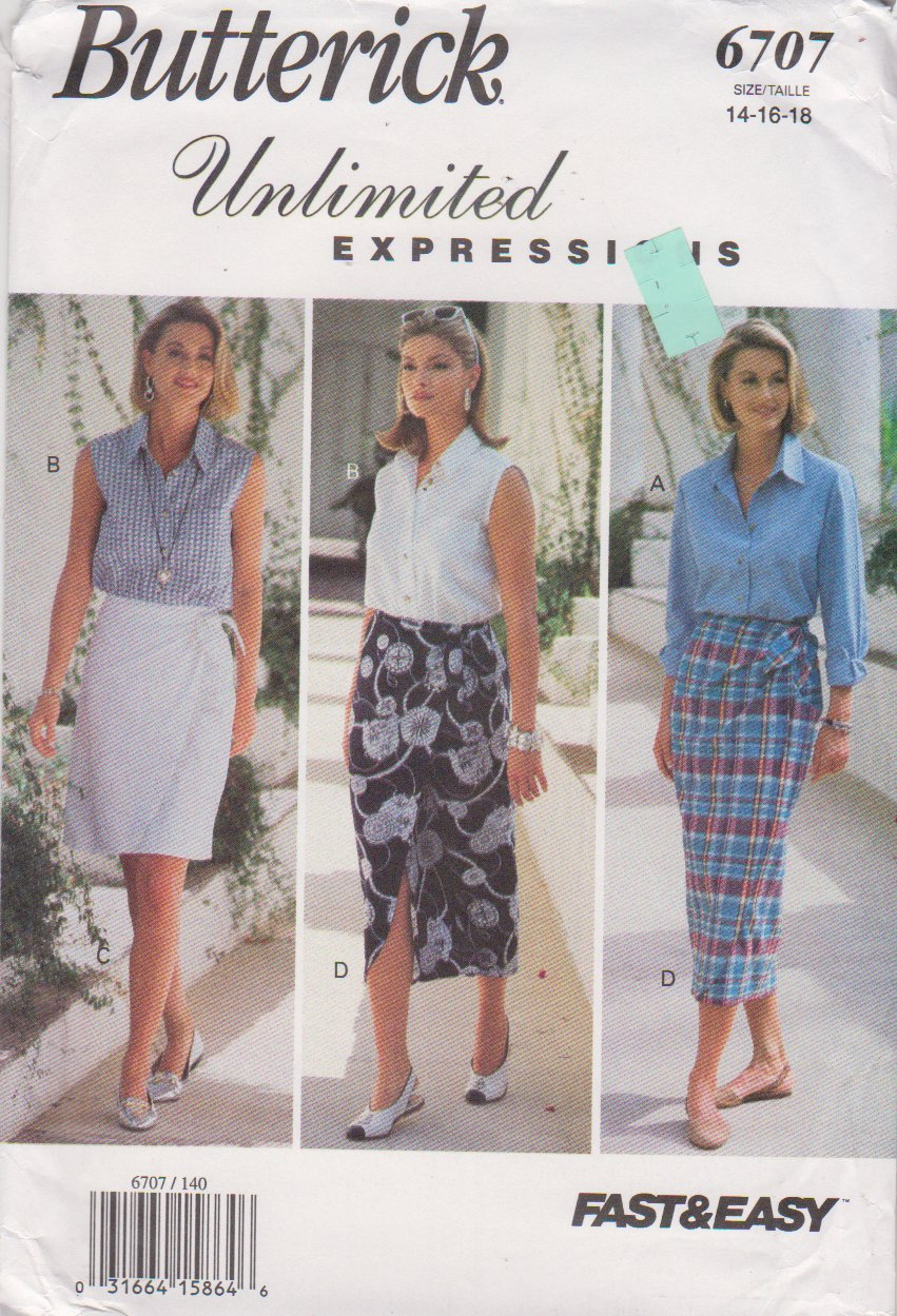 Butterick Sewing Pattern 6707 B6707 Misses Sizes 14-18 Easy Wrap Skirt Button Front Shirt