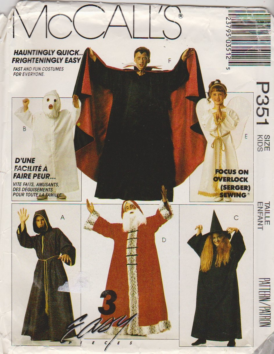 McCall's Sewing Pattern P351 MP351 5665 Child's Size 6-8 Easy Costumes Vampire Ghost Angel Witch