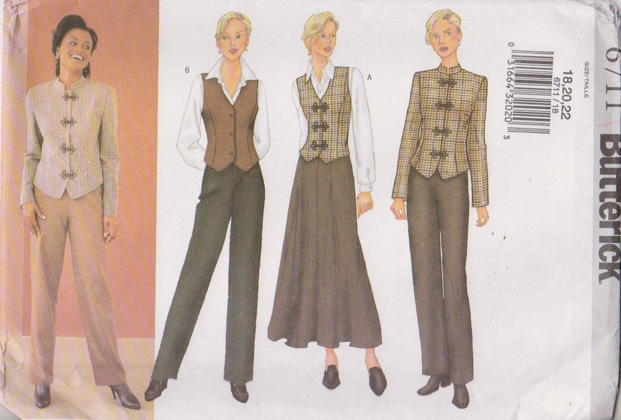 Butterick Sewing Pattern 6711 B6711 Misses Size 18-22 Easy Jacket Vest Skirt Pants