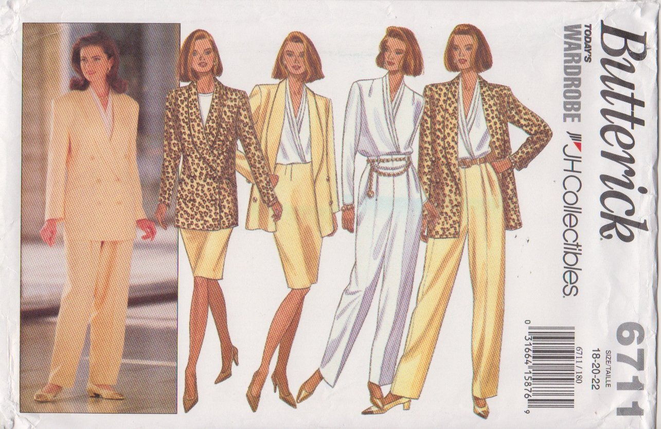 Butterick Sewing Pattern 6711 B6711 Misses Size 18-22 Jacket Blouse Skirt Pants