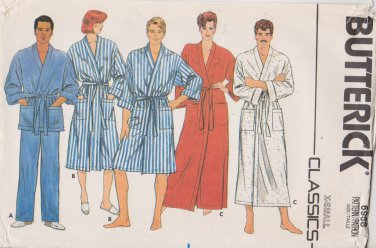 """Butterick Sewing Pattern 6968 B6968 Unisex Misses Mens  Size 30-32"""" Front Wrap Robe Pajama Pants"""