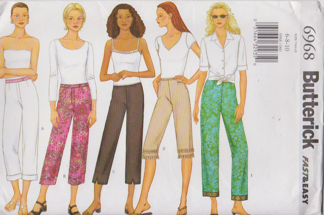 Butterick Sewing Pattern 6968 B6968 Misses Size 6-10 Easy Low Rise Straight Leg Pants Capri Cropped