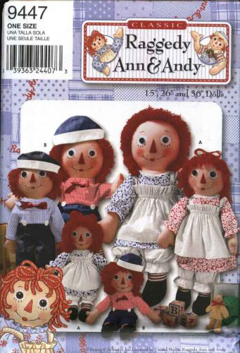 """Simplicity Sewing Pattern 9447 Classic Raggedy Ann & Andy 15"""" 26"""" 36"""" Dolls and Clothes"""