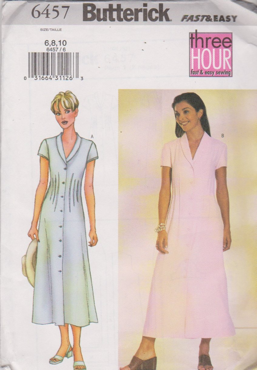 Butterick Sewing Pattern 6457 B6457 Misses Size 6-10 Easy Short Sleeve Shawl Collar Tucked Dress