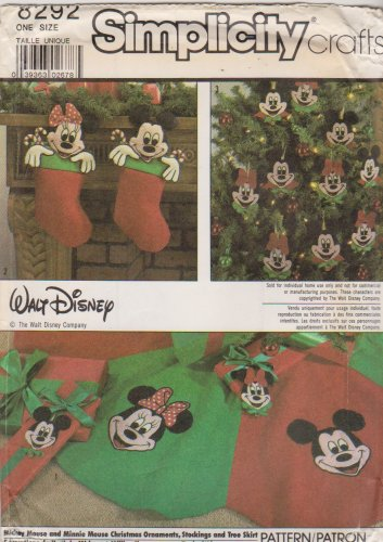 Simplicity Sewing Pattern 8292 Walt Disney Mickey and Minnie Christmas Ornaments Stocking Tree Skirt