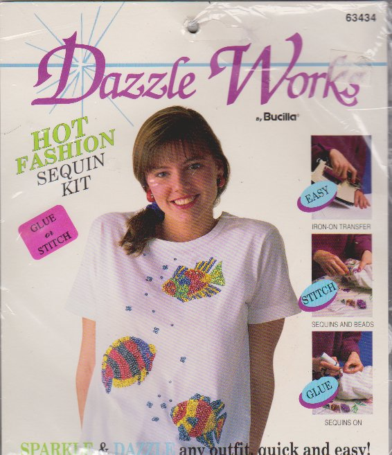 Dazzle Works Bucilla 63434 Easy Tropical Fish Sequin Kit NEW