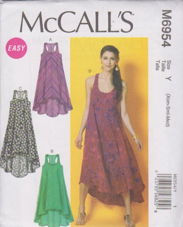 McCalls Sewing Pattern 6954 M6954 Misses Size 4-14 Easy Sleeveless Summer Dress Racer Back