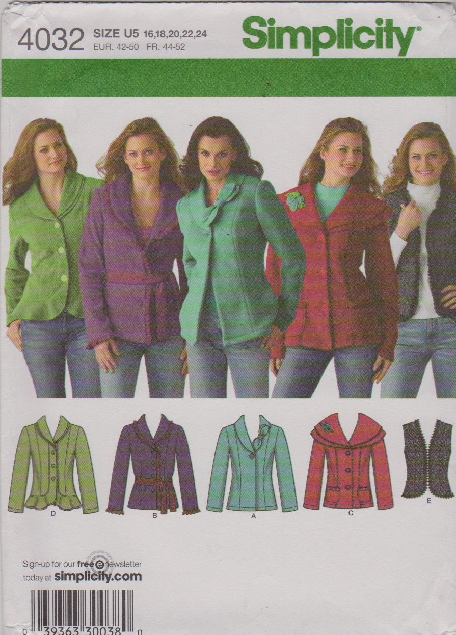 Simplicity Sewing Pattern 4032 Misses Size 16-24 long Sleeve Jackets  Vest