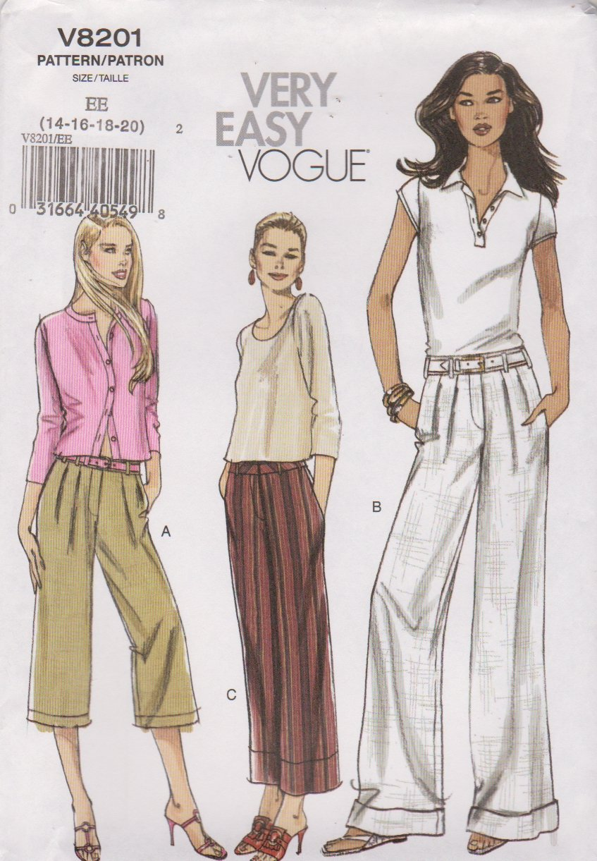 Vogue Sewing Pattern 8201 Misses Size 14-16-18-20 Easy Side Pocket Pleated Pants Capris