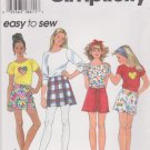 Simplicity Sewing Pattern 7079 Girl's Size 12-14 Easy Knit T-Shirt Top Shorts Skorts