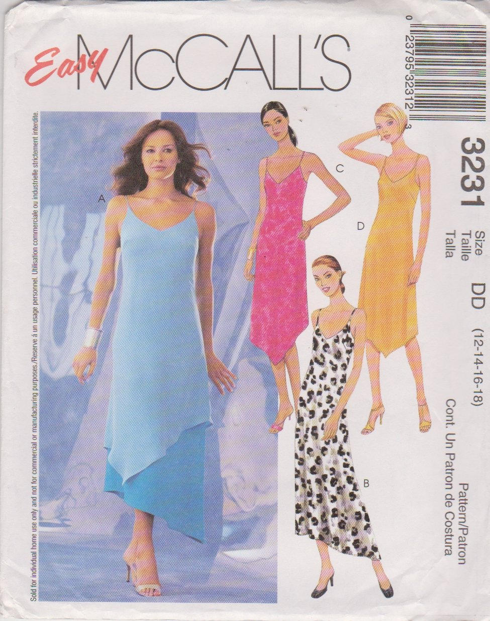 McCall's Sewing Pattern 3231 M3231 Misses Size 12-18 Easy Summer Layered Slip Dress