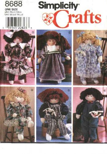 """Simplicity Sewing Pattern 8688 Crafts Stuffed 22"""" Dolls and Clothes Dress Overalls Pantaloons"""
