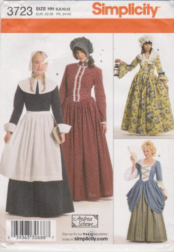 Simplicity Sewing Pattern 3723 Misses Sizes 6-12 Prairie Puritan Revolutionary War Costumes