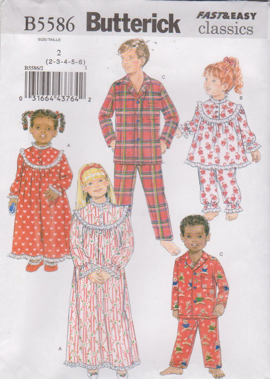 Butterick Sewing Pattern 5586 B5586 Boys Girls Sizes 2-6 Easy Nightgown Pajama Top Pants