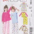 McCall's Sewing Pattern 6194 M6194 Boys Girls Sizes 1-3 Easy Pajama Pants Tops Nightgown