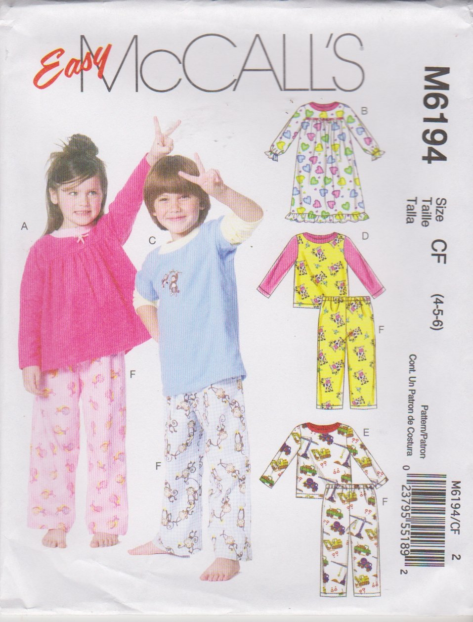 McCall's Sewing Pattern 6194 M6194 Boys Girls Sizes 4-6 Easy Pajama Pants Tops Nightgown