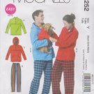 McCall's Sewing Pattern 6252 M6252 Mens Misses Size XS-M Jacket Hoodie Tops Pants Dog Coat