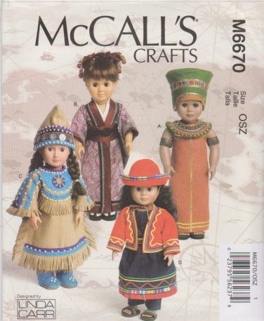 """McCall's Sewing Pattern 6670 M6670 International Clothes 18"""" Dolls Egypt Peru Japan American Indian"""