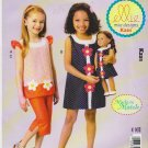 "Kwik Sew Sewing Pattern K221 0221 Girls Sizes 3-10 18"" Doll Dress Pants Tops Applique"