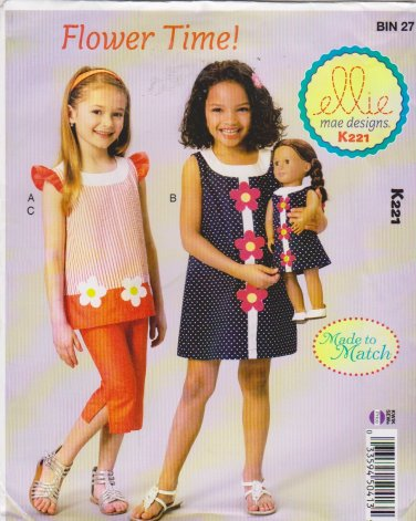 "Kwik Sew Sewing Pattern K221 0221 Girls Sizes 3-10 18"" Doll Dress Pants Tops Applique"