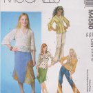 McCall's Sewing Pattern 4580 M4580 Girls Size 7-12 Pullover Tops Tunics Skirts Pants