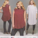 Simplicity Sewing Pattern 8140 Womens Plus Size 26W-32W Button Front Shirt Sleeve Length Options