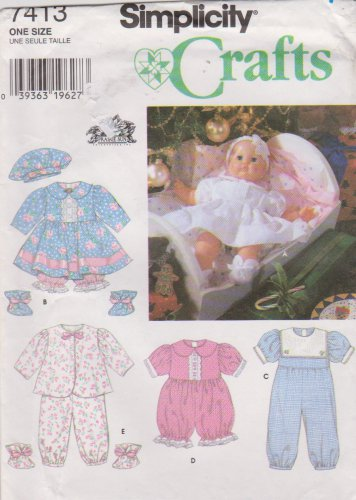 """Simplicity Sewing Pattern 7413 20"""" Baby Doll Clothes Dress Romper Pajamas"""