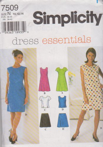 Simplicity Sewing Pattern 7509 Misses Size 10-14 Princess Seam Dress Top A-Line Skirt