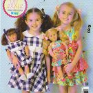 "Kwik Sew Sewing Pattern K193 0193 Girls Sizes 3-10 18"" Doll Fanciful Flounces Dresses"