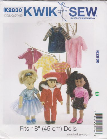 "Kwik Sew Sewing Pattern 2830 K2830 18"" Doll Clothes Wardrobe"