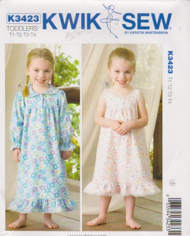 Kwik Sew Sewing Pattern 3423 K3423 Girls Size T1-T4 Nightgowns Sleeve Length Options