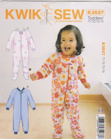 Kwik Sew Sewing Pattern 3527 Toddler Sizes T1-T4 Zipper Front Footed Sleepers
